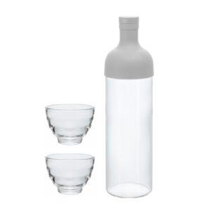 Teeflasche mit 2 Gläsern - weiß