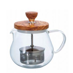 Teekanne mit Filter und Olivenholzdeckel