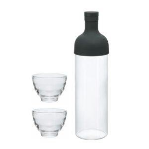 Teeflasche mit 2 Gläsern - schwarz